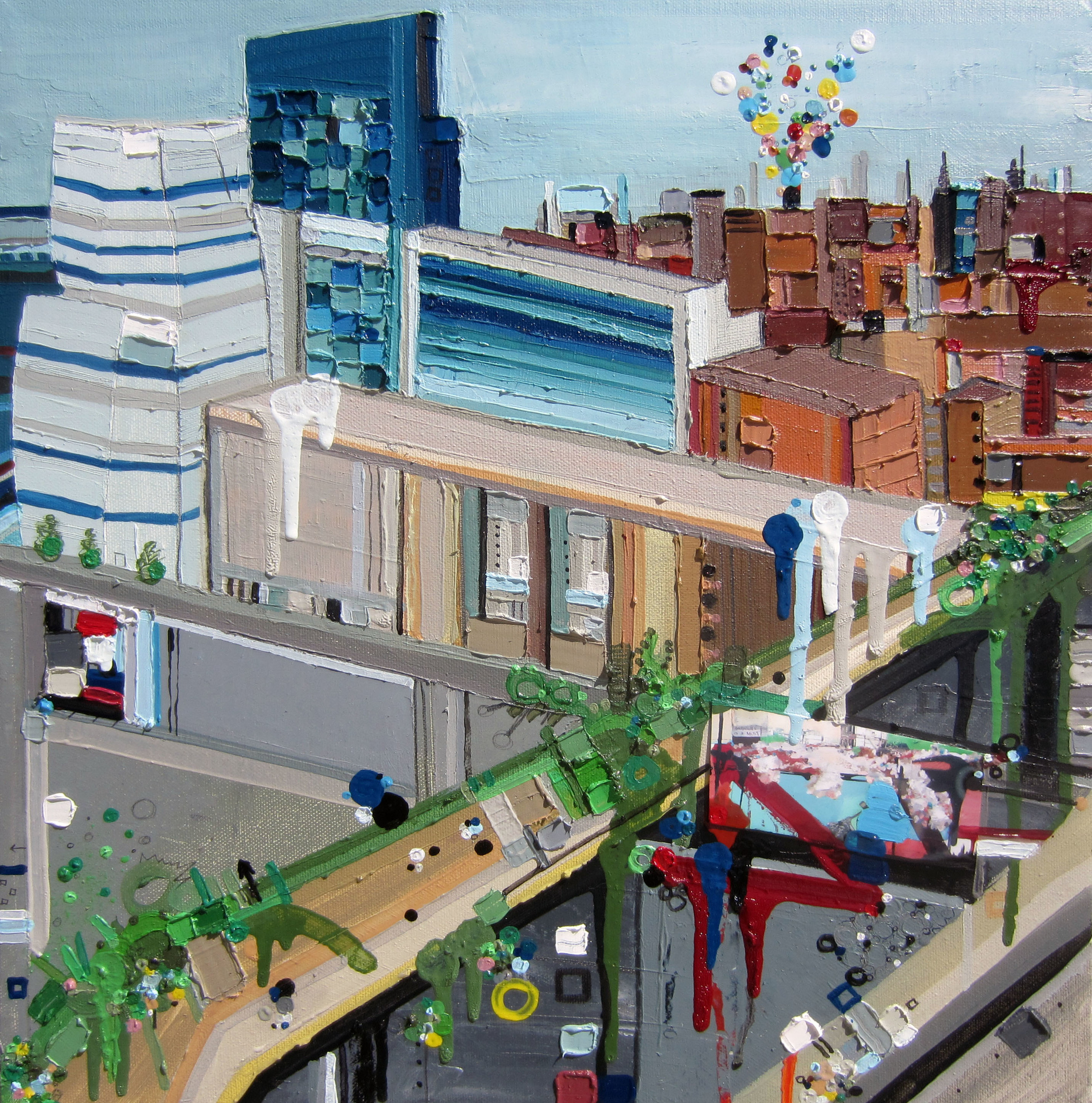 18th Street Elites, 2013,Oil and Mixed Media on canvas, 16 x 16 inches
