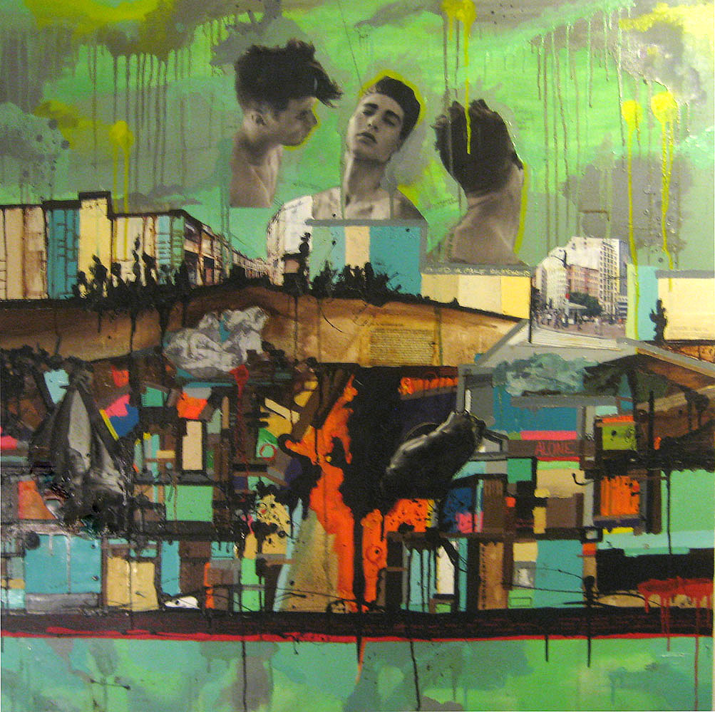 In The Mood for Love, 2007,Oil and Mixed Media on canvas, 48 x 48 inches