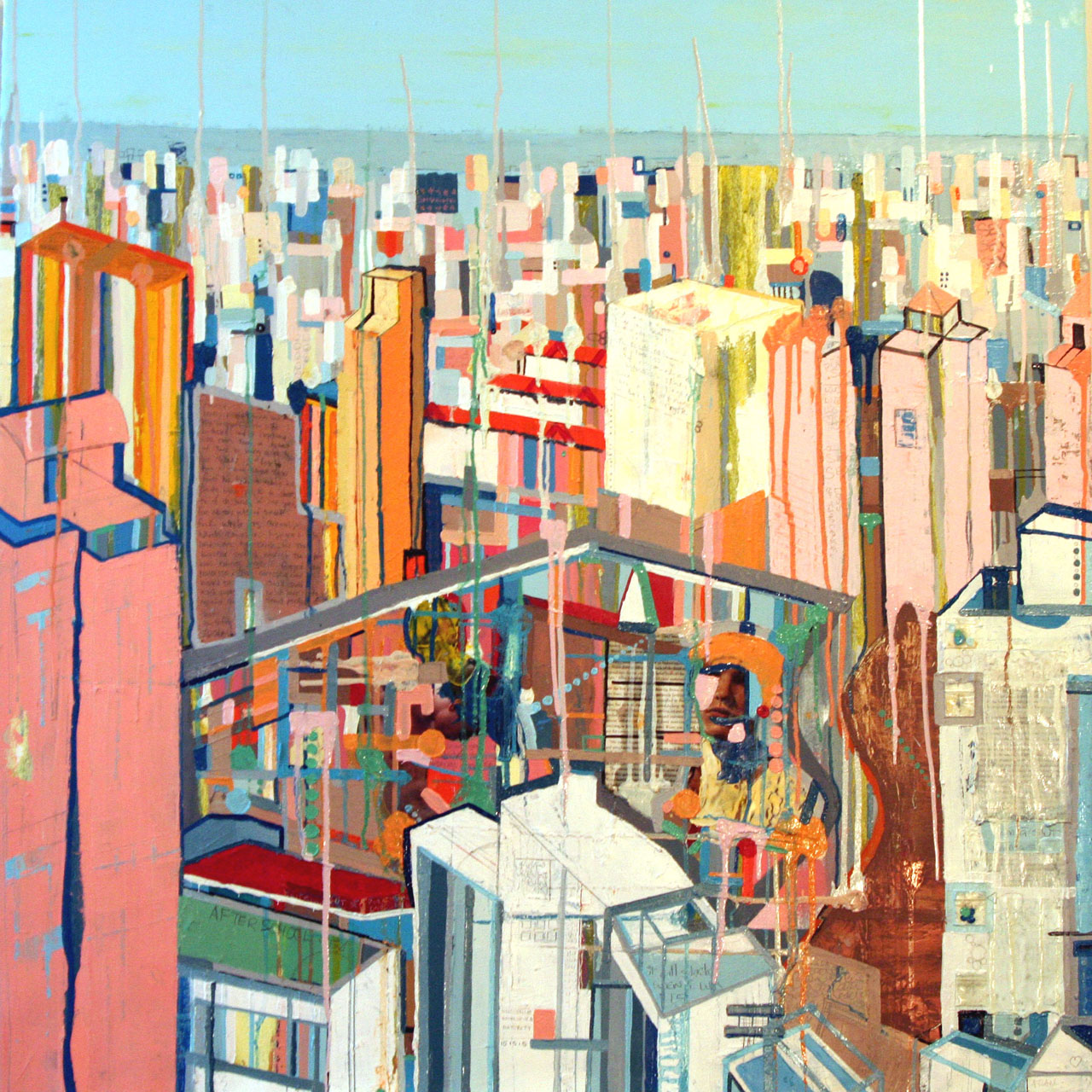 Building the Future, 2007,Oil and Mixed Media on canvas, 44 x 44 inches