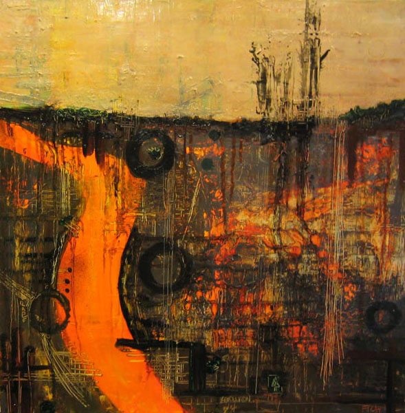 Utter Destruction, 2004, Oil on canvas, 30 x 30 inches