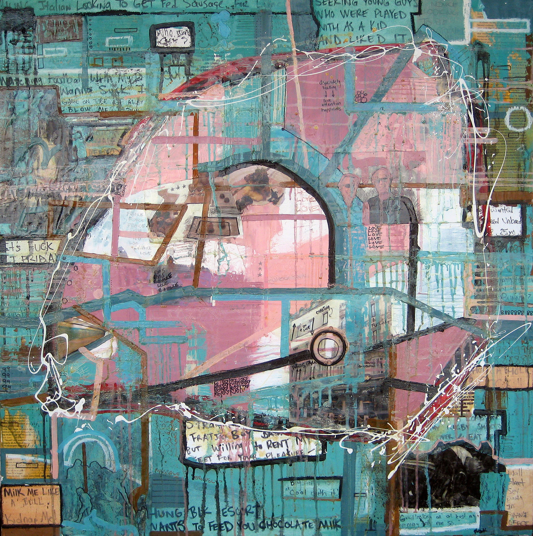 Enchanting Excess, 2006, Oil and Mixed Media on canvas, 45 x 45 inches