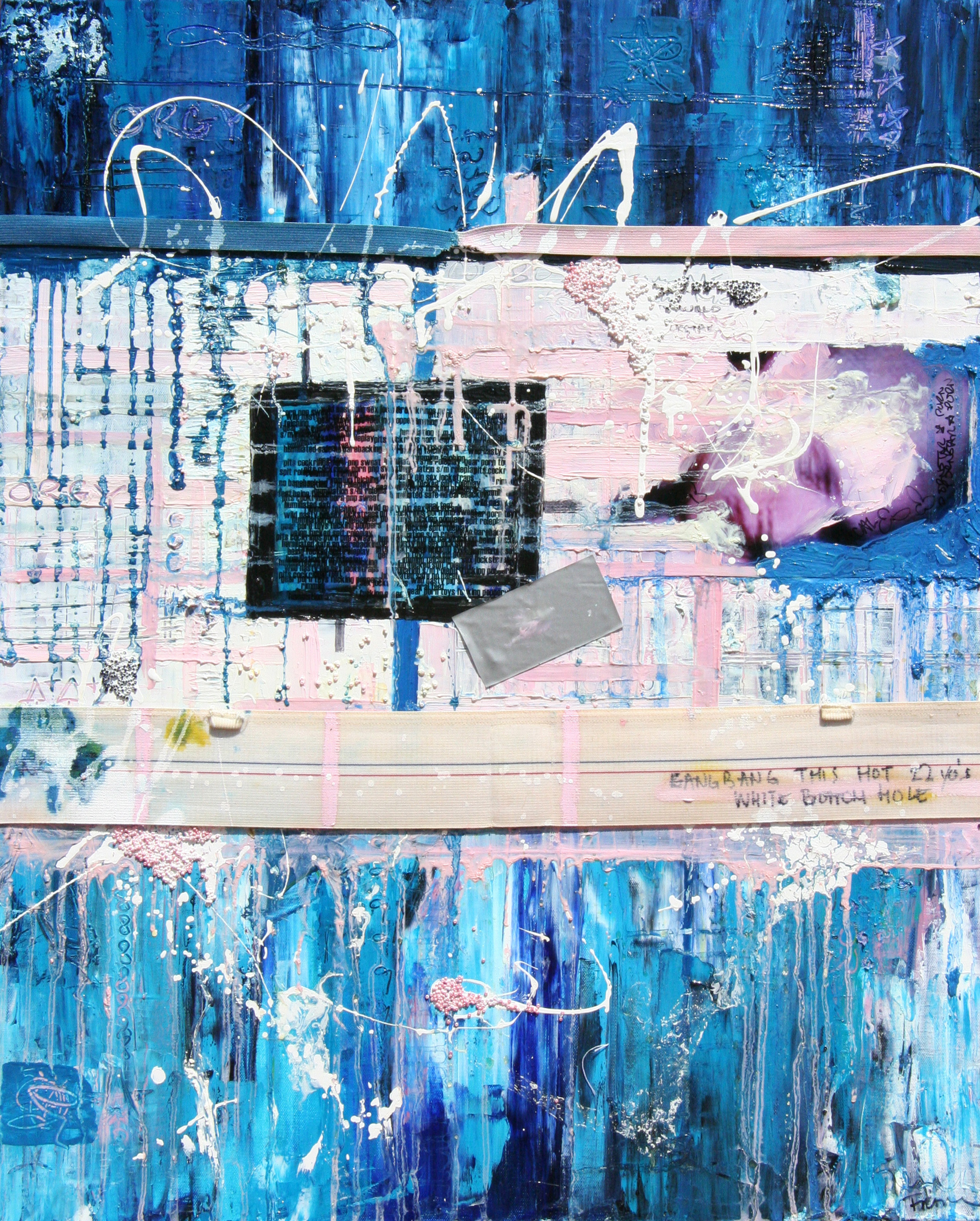 Rapture, 2006, Oil, Jockstrap, and Mixed Media on canvas,  36 x 24 inches