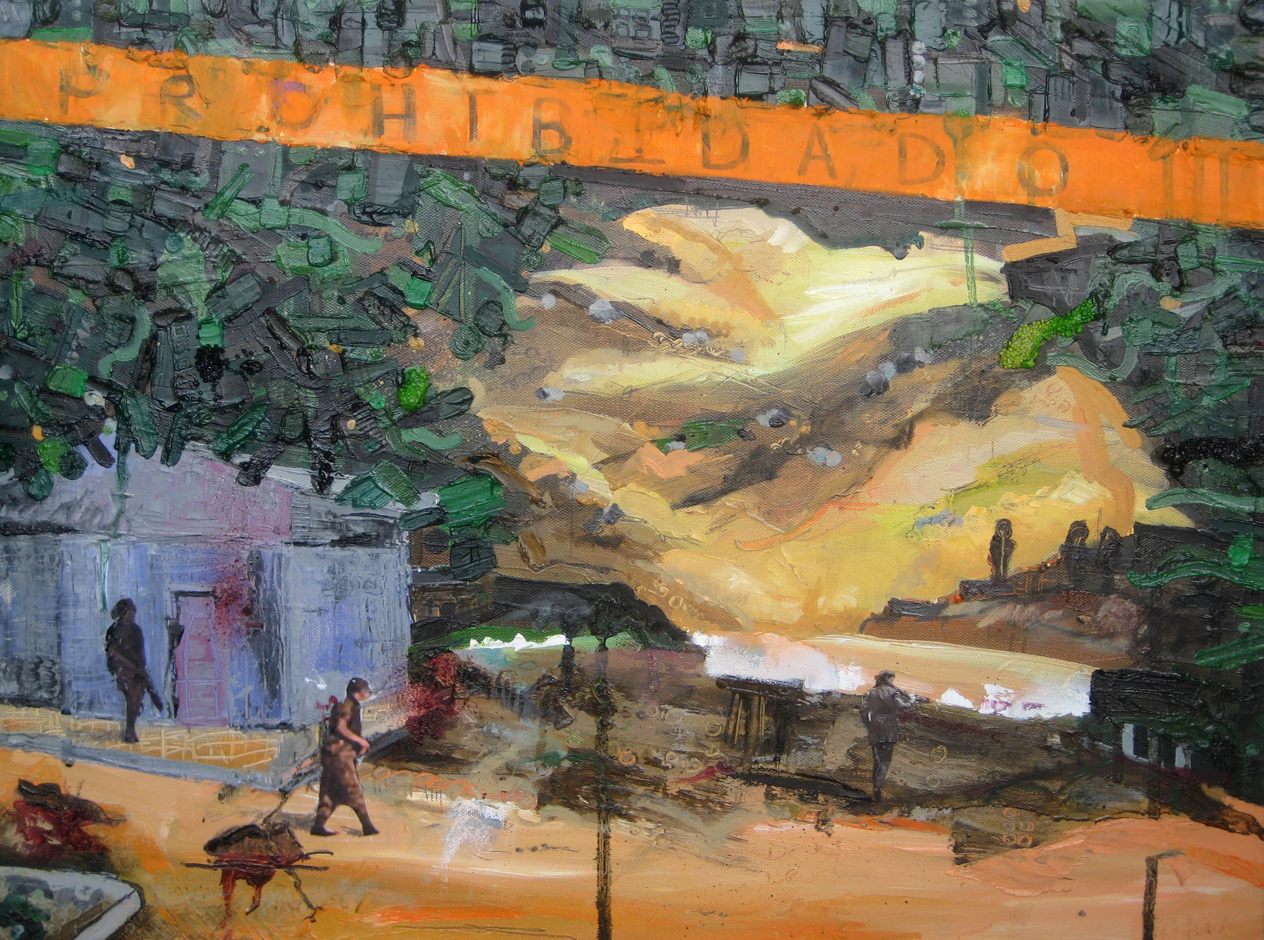 Juarez, 2010, Oil and Mixed Media on canvas, 18 x 24 inches