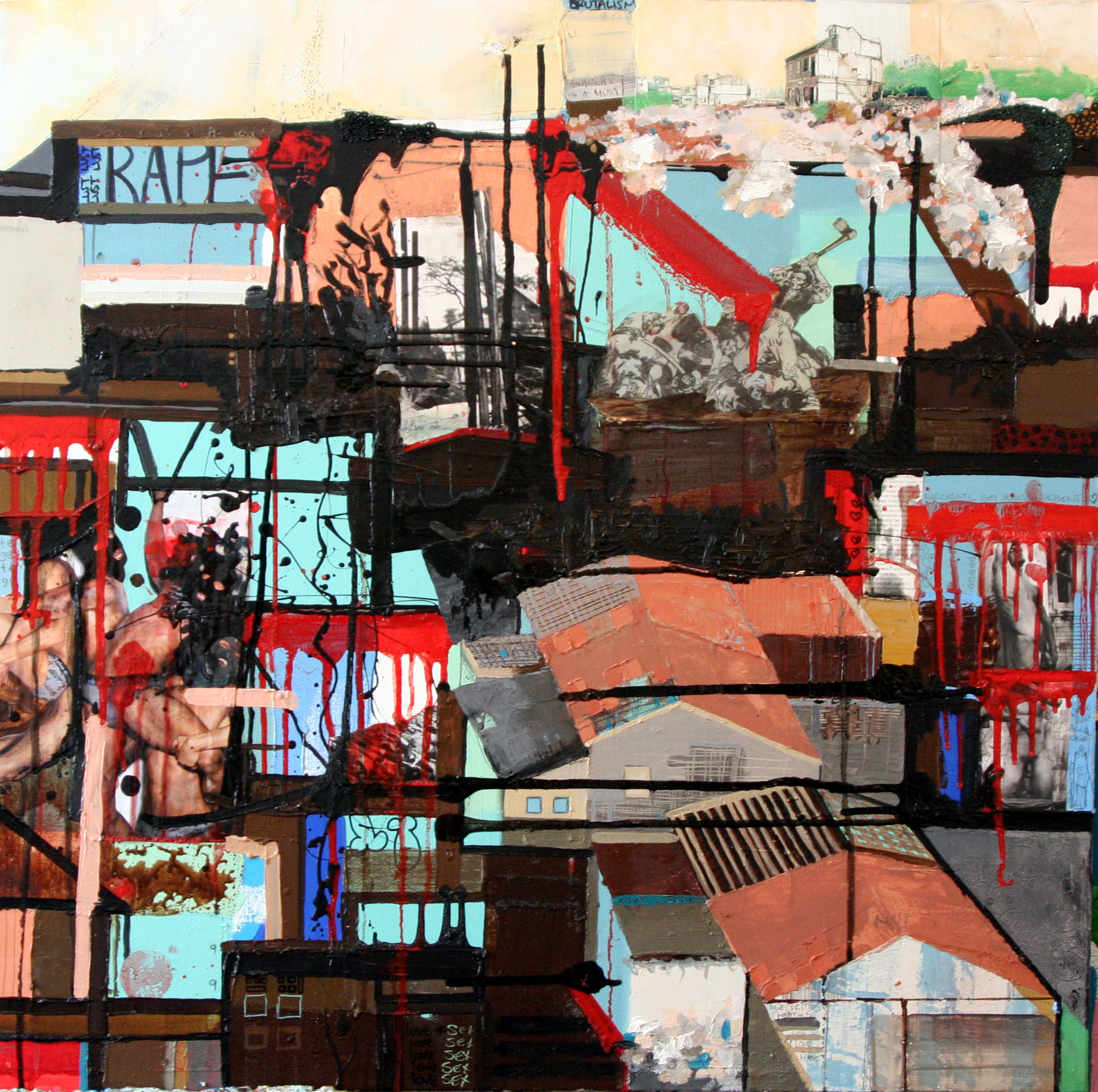 Battle 4 Love (Right Panel), 2007, Oil and Mixed Media on canvas, 30 x 30 inches