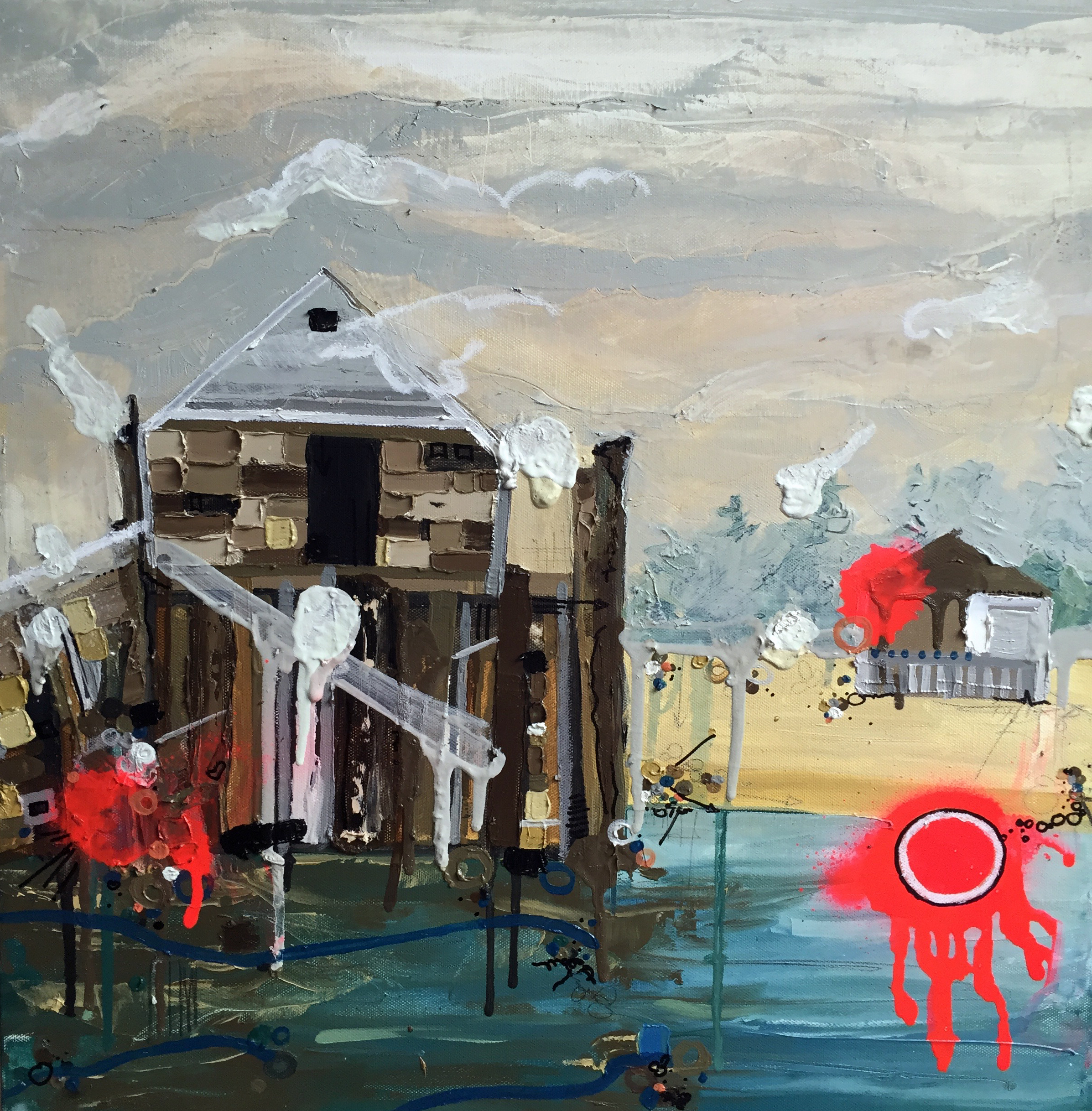 """Summer Rental, 2015, Oil and Mixed Media on canvas, 20x20"""""""