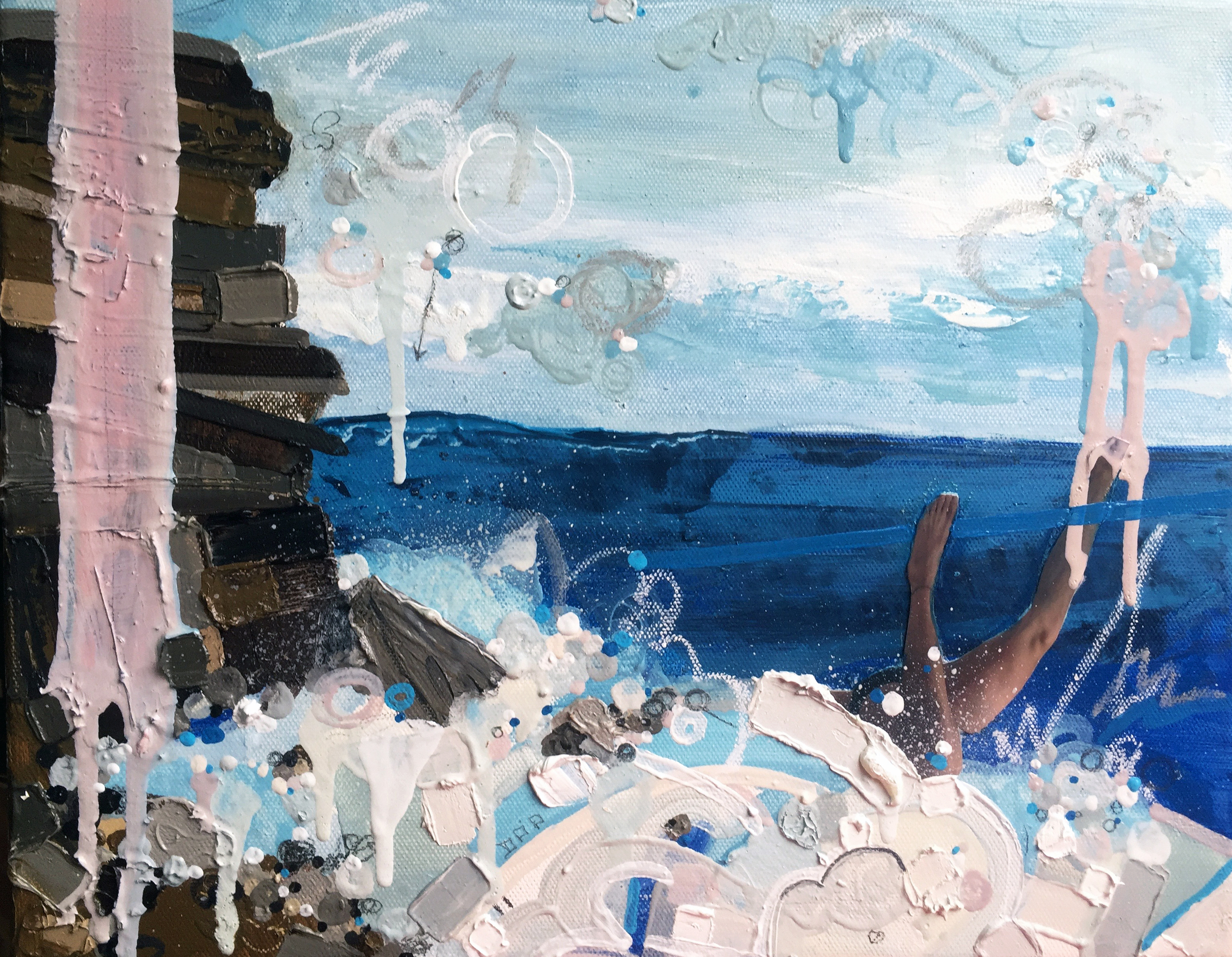 Sea View, 2016, Oil and Mixed Media on canvas, 9 x 12 inches