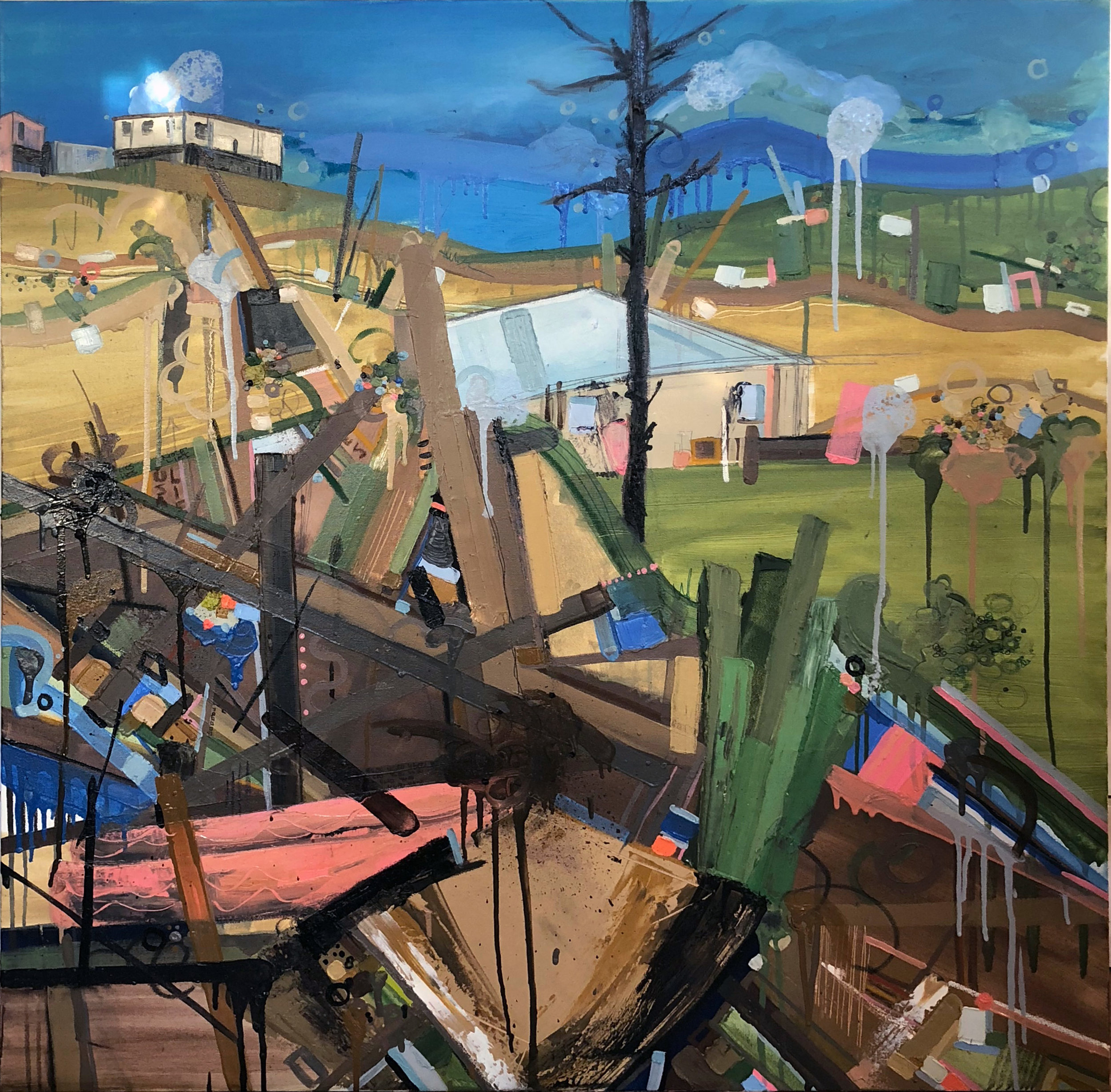 Rico, 2018, Oil, Oil Pastel, Pencil, Marker on canvas, 40 x 40 inches
