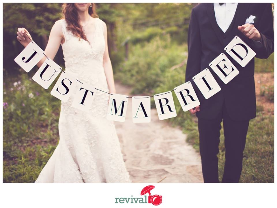 Wedding banners (pictured banner by   Tuck & Bonte  ) are a fun idea for your wedding photos or wedding day decor!