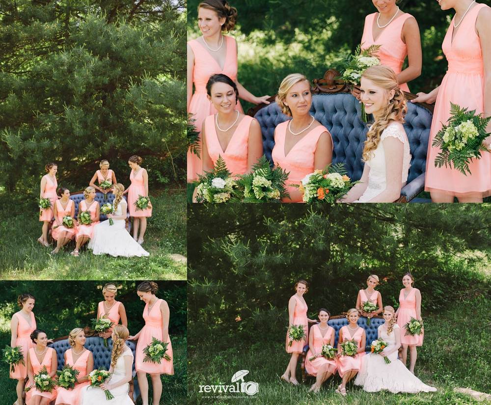Bride and Bridesmaids Vintage Inspired Salmon Colors Photos by Revival Photography Wedding at the Highland Lake Inn in Flat Rock NC Wedding Photos by www.revivalphotography.com