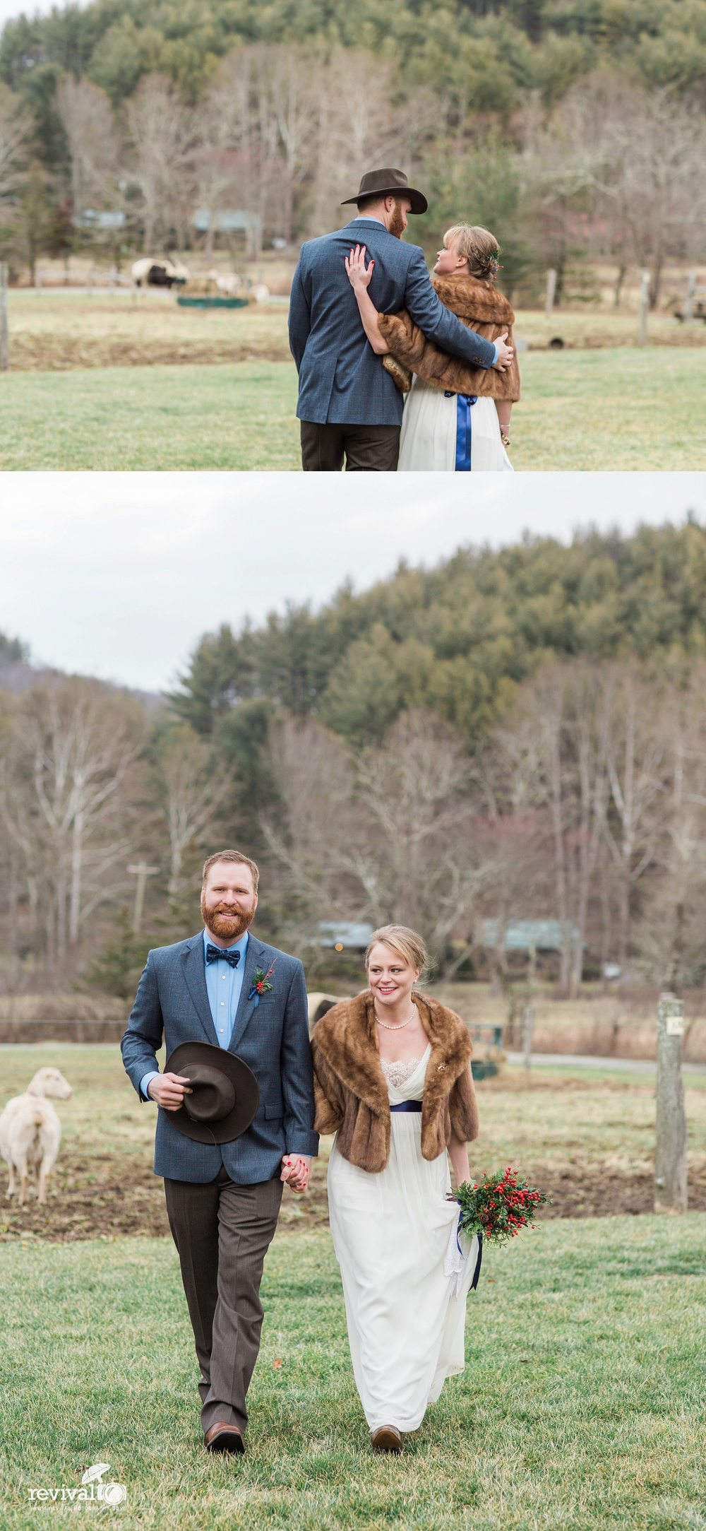 Photos by Revival Photography Vintage Inspired Winter Elopement on New Years Eve Mast Farm Inn www.revivalphotography.com