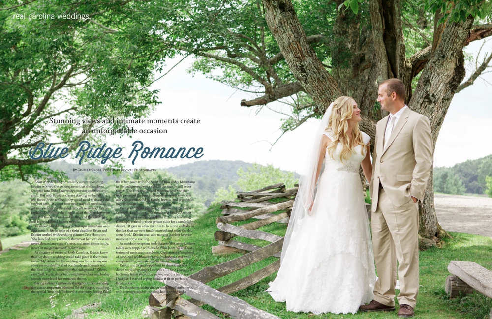 Kristin and Brian Destination Mountain Wedding Featured in Carolina Weddings Magazine Photos by Revival Photography www.revivalphotography.com