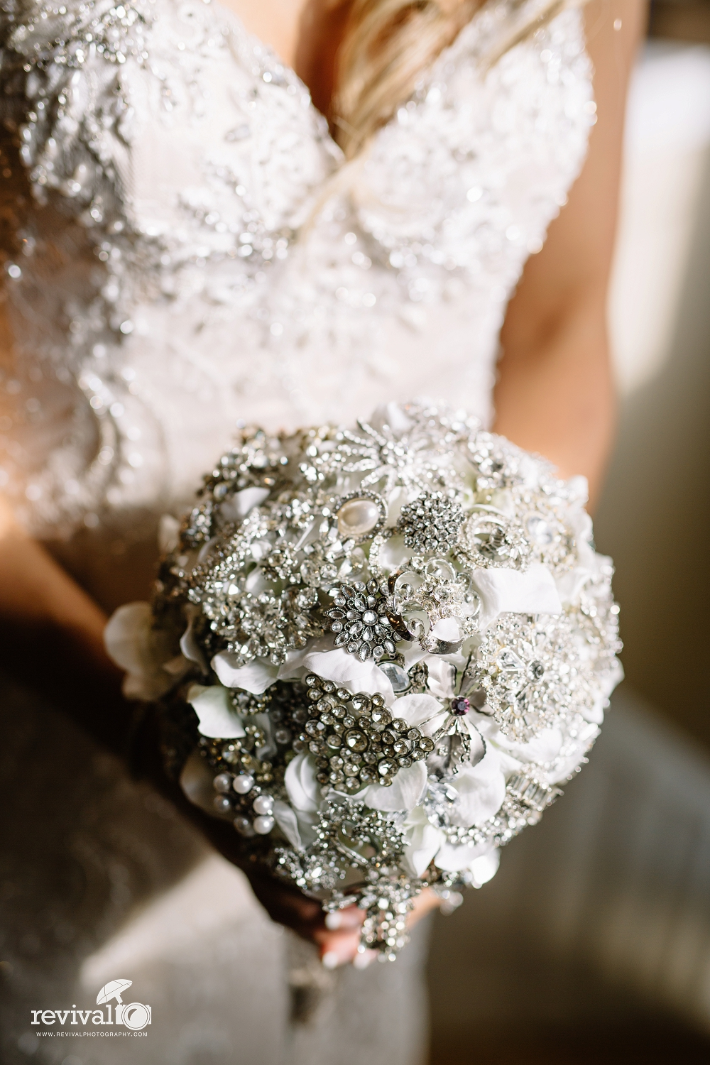 The bouquet was made from broaches and clip on earrings that belonged to my late grandmother, and broaches that my late mom and my Aunt had collected for years in hopes I would get married one day.