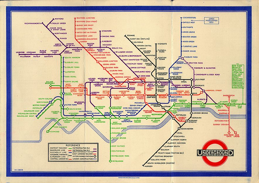 London Tube Map 1933 - Harry Beck (Source:  Wikipedia )
