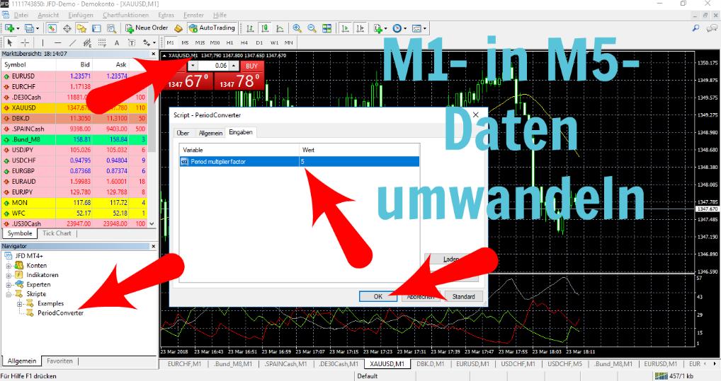 M1-Daten in einen anderen Timeframe umwandeln
