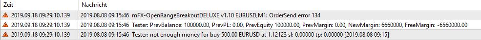 """EA erzeugt Fehlermeldung """"not enough money"""" und Fehlercode 134 im Strategietester des MT4"""