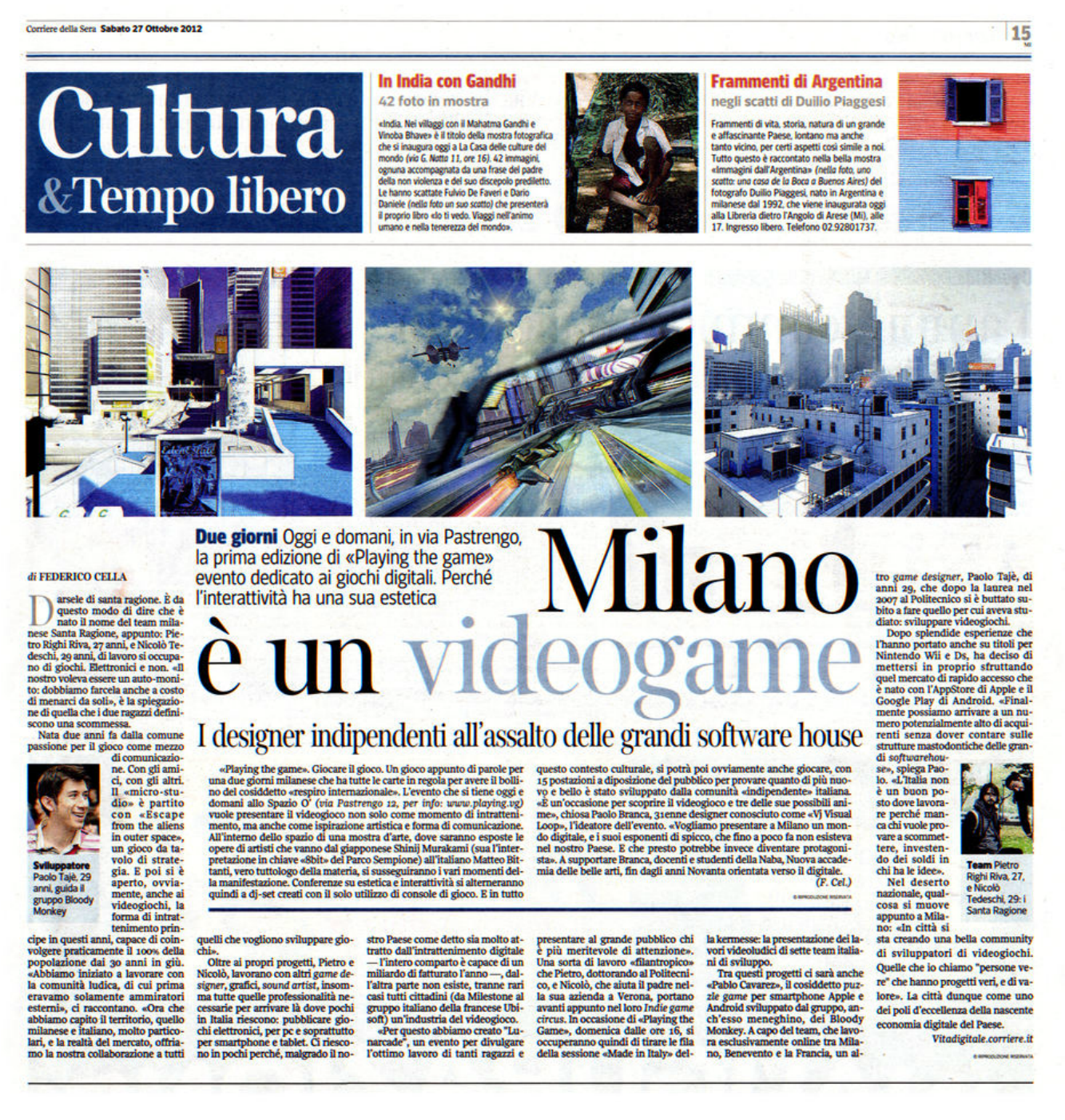 PLAYING THE GAME, Milan, Italy Media Coverage:  Corriere della Sera   2012