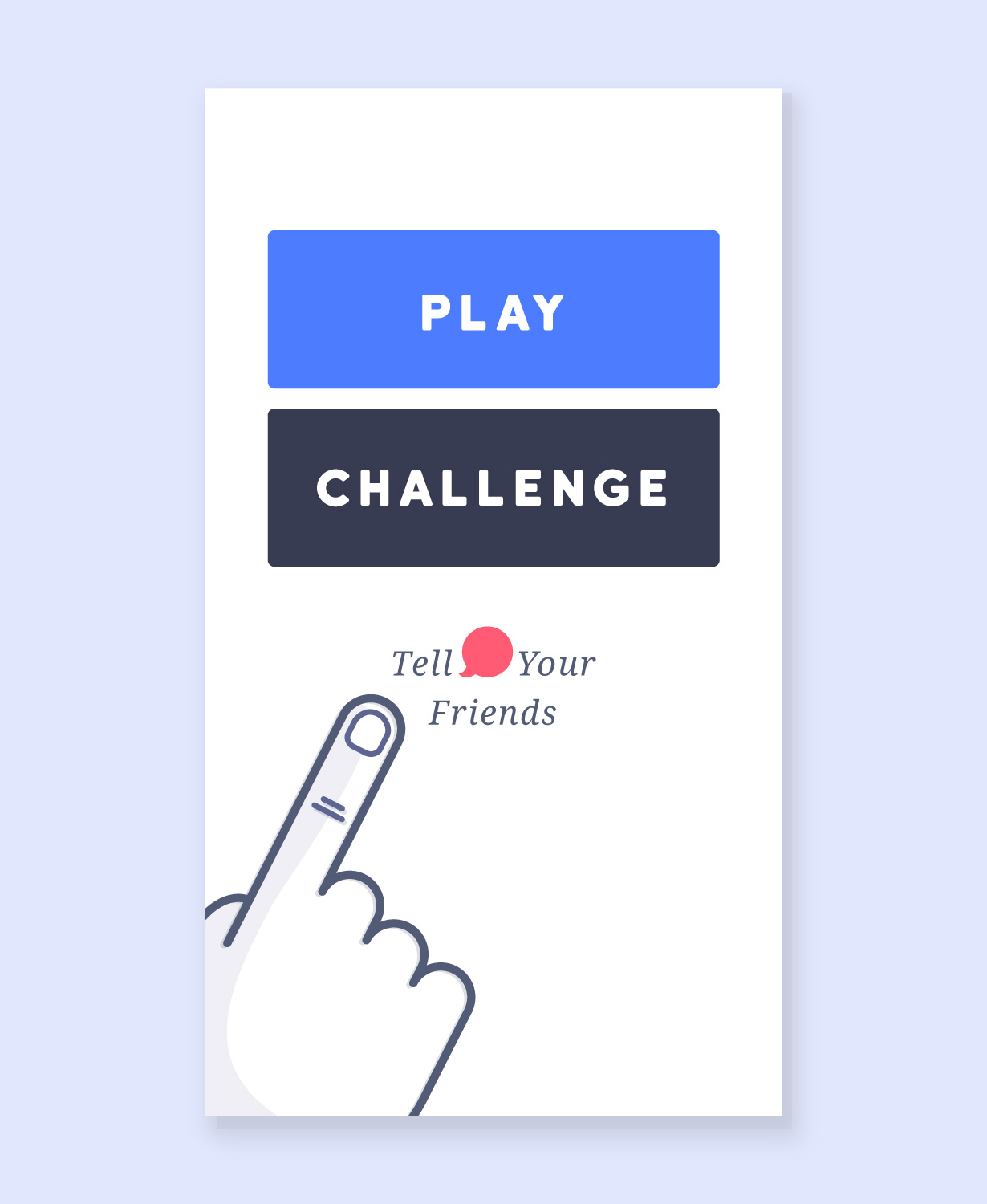 Menu screen - the user can play alone or challenge a friend by choosing the country he will be asked to point at.