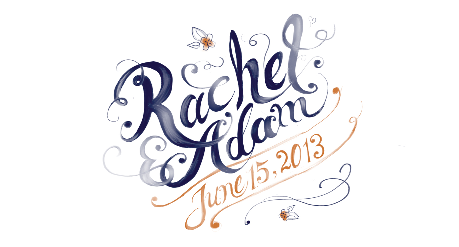 Hand lettering for a wedding invitation.