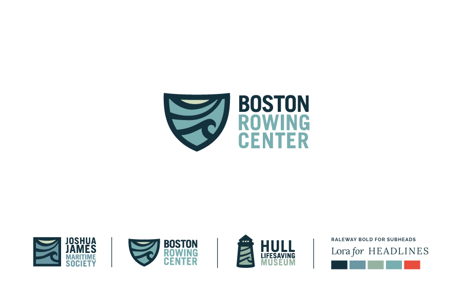 Logo design and development for the Boston Rowing Center and the Hull Lifesaving Museum.