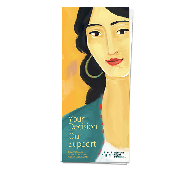 Illustration and brochure for Abortion Rights Fund of Western Massachusetts