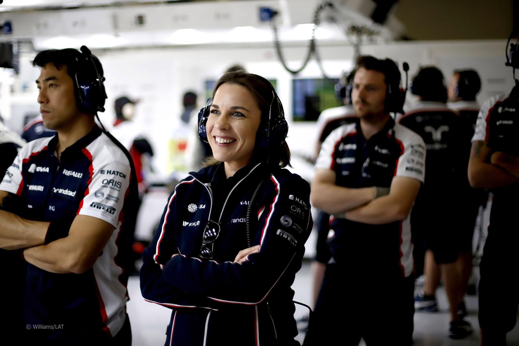 Claire Williams, Deputy Team Principal, Williams F1, in the garage. Credit: Glenn Dunbar/LAT Photographic