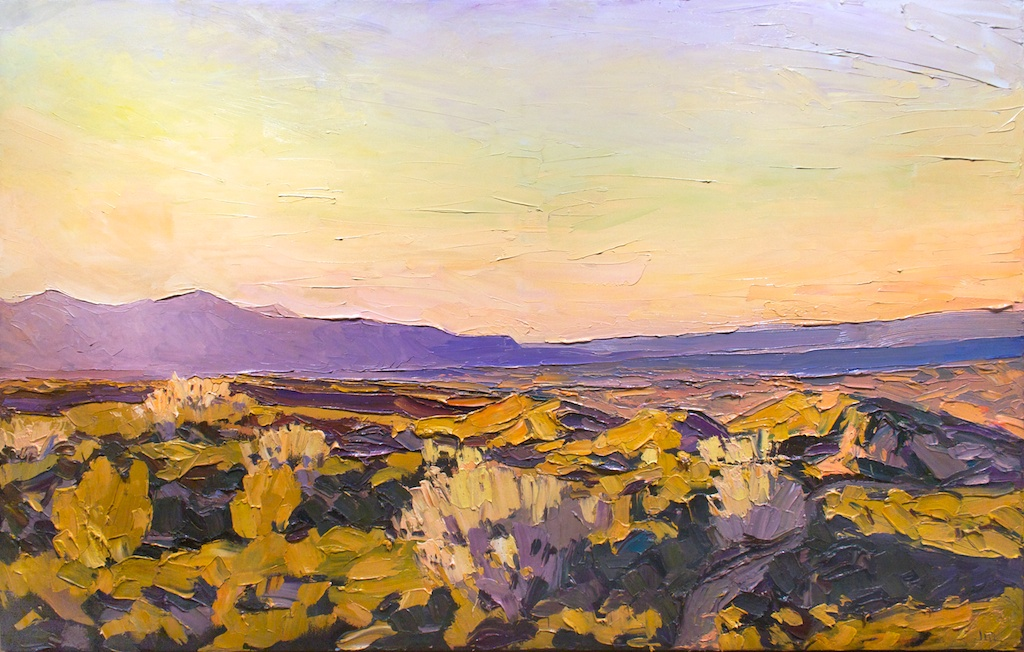 "Evening in the Land of the Sun , 42"" x 66"", oil impasto on canvas, Sold"