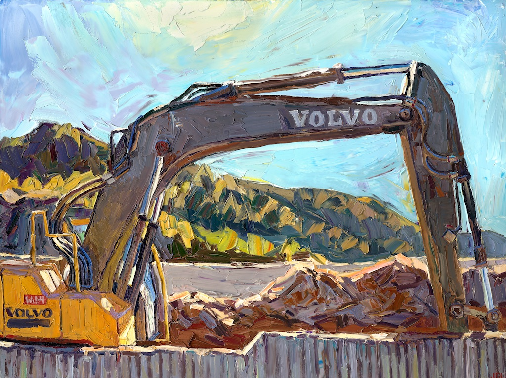 "Deceleration lane    30"" x 40"", oil impasto on archival panel, 2014"