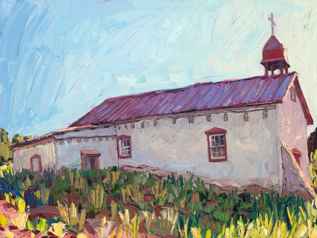 "The chapel, morning light    30"" x 40"" |oil impasto on archival panel |2015"