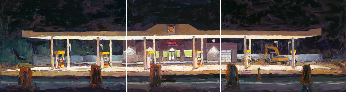 """The new gas station, 10 p.m.    30"""" x 111"""" 