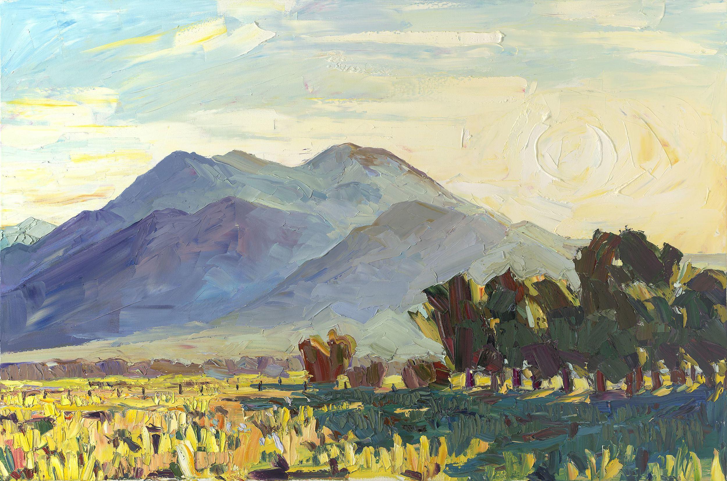 "Sunrise over Taos Mountain    40"" x 60"" | oil impasto on canvas | 2015"
