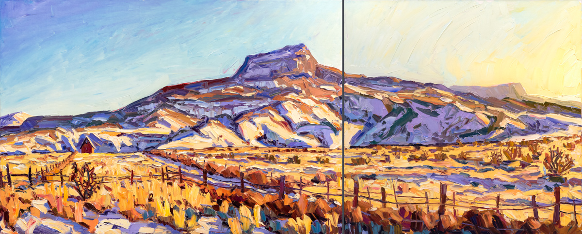 """At the foot of Pedernal, 48"""" x 118"""" (diptych)"""
