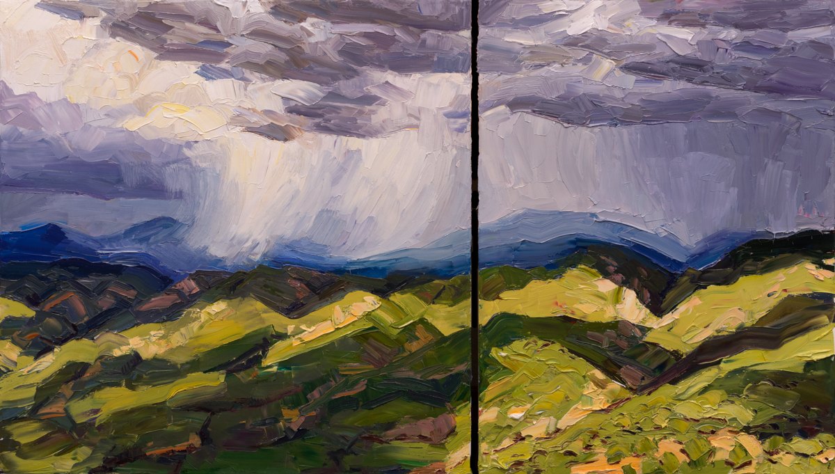 """Mountain squalls, valley light; 40"""" x 70"""" (diptych), available through Altamira Fine Art – (307) 739-4700 or connect@altamiraart.com"""