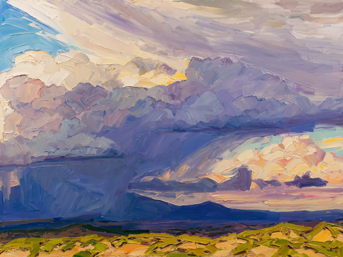 """Out of the mountains, into the sky , 36x48"""", oil on panel, on view at Heinley Fine Arts – (617) 947-9016 or info@heinleyfineartsw.com"""