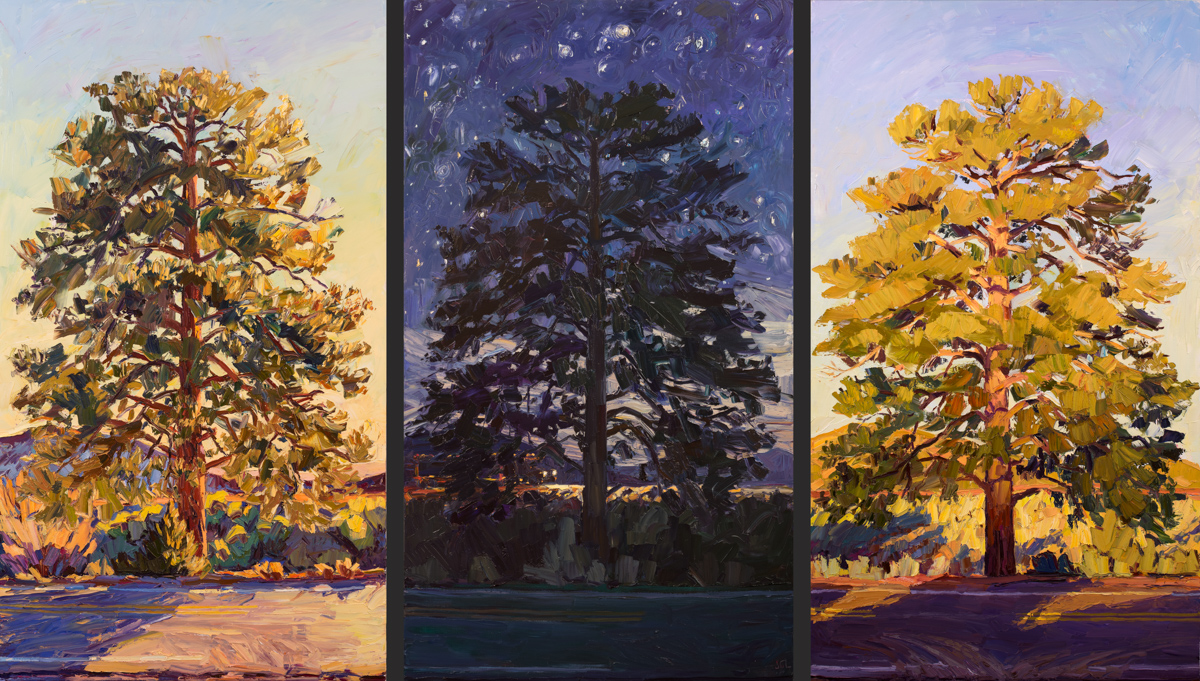Lone Tree triptych - By the sun / Miles to go... / Lightening day