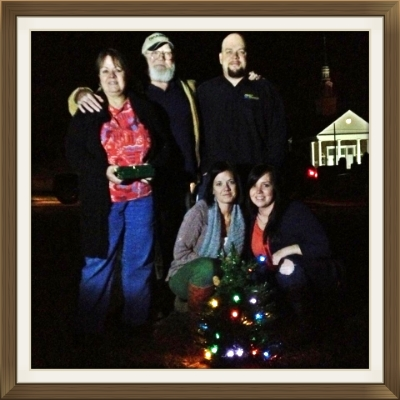 Tree lighting at Will's grave~ a new family tradition.