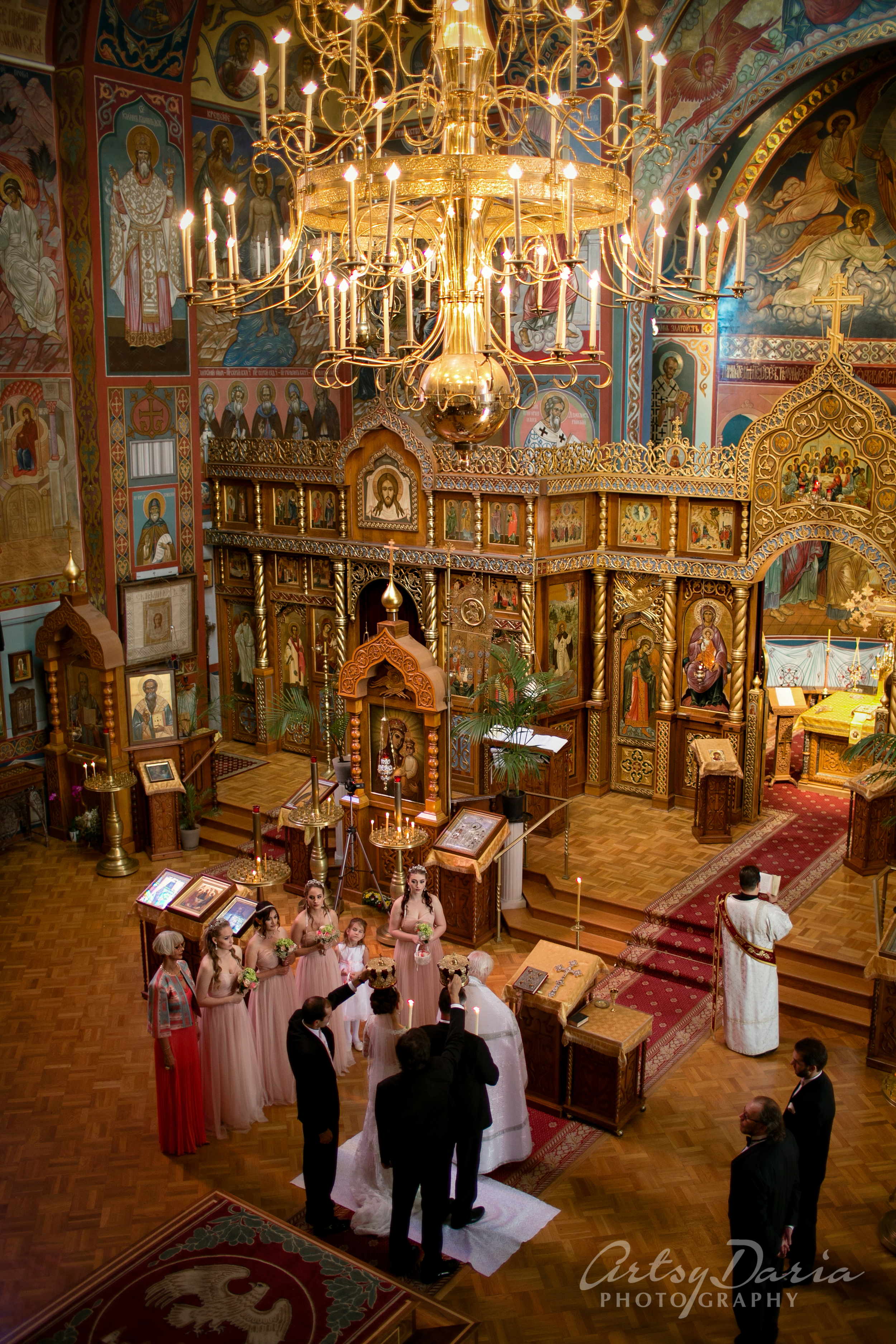 It took them 3 months to get to the altar.   It was a wonderful ceremony in a traditional Russian Orthodox church -  Holy Virgin Cathedral , San Francisco, CA.