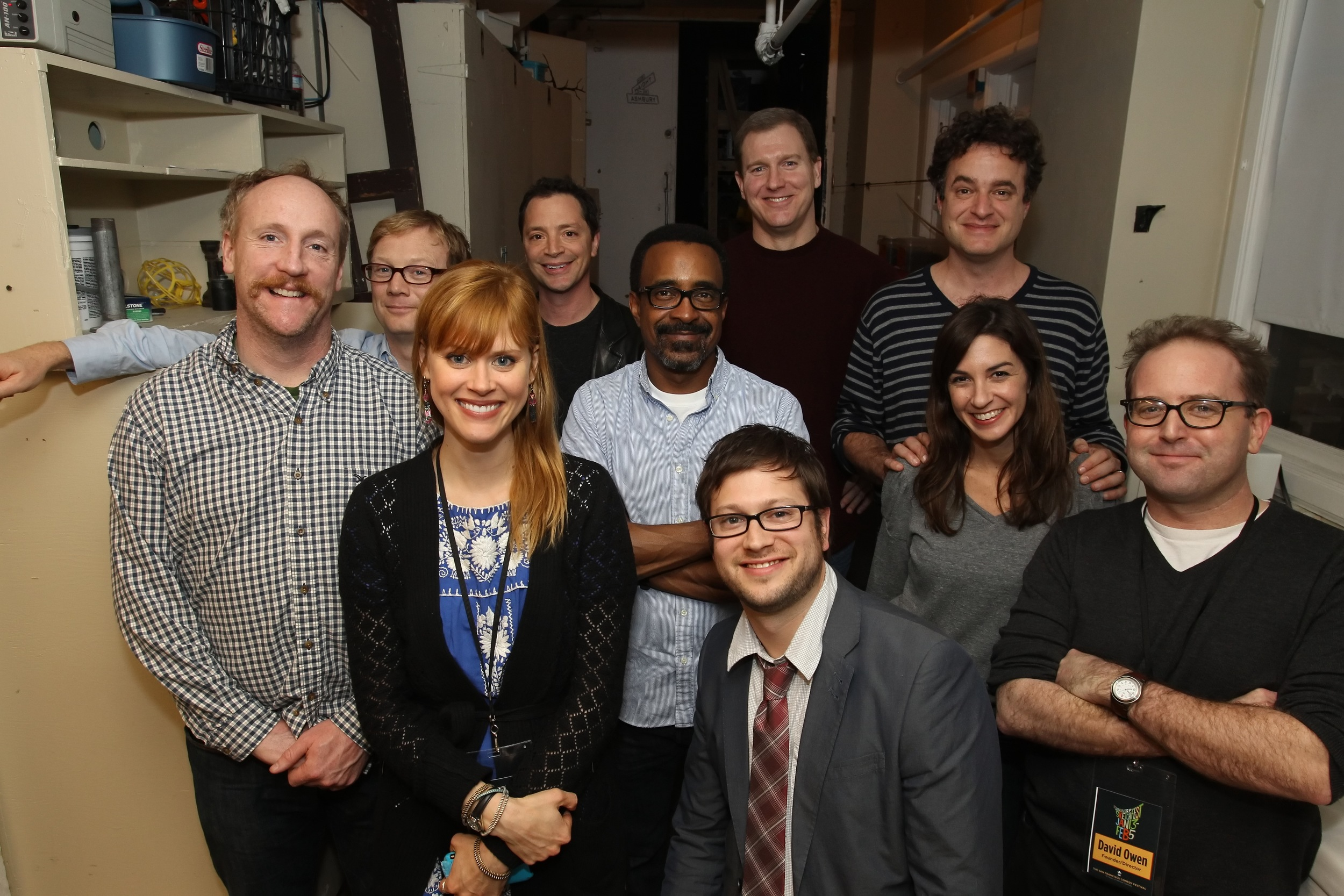 Matt Walsh, Andy Daly, Janet Varney, Joshua Malina, Tim Meadows, Ian Roberts, Matt Besser, Danielle Schneider and David Owen. Photo by Jakub Mosur.