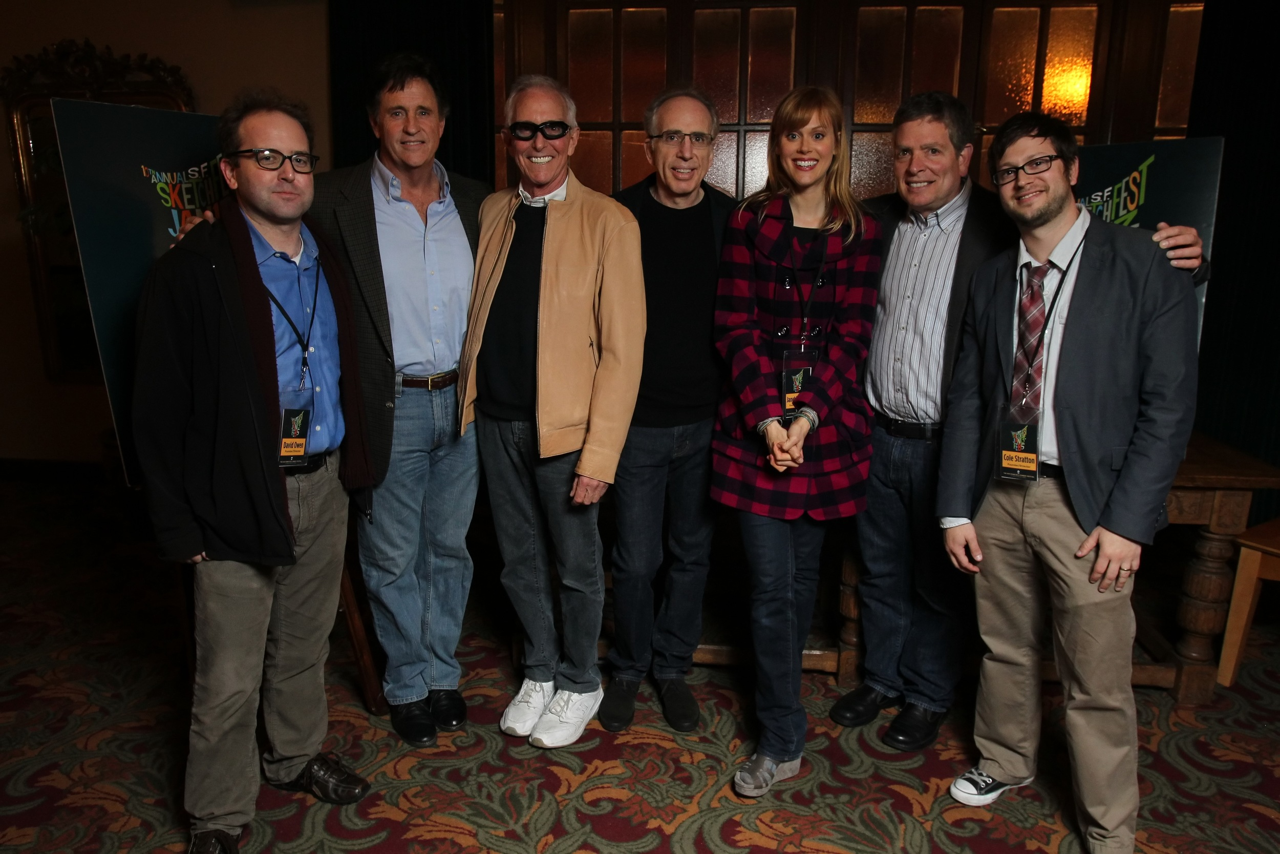 David Owen, Robert Hayes, Jim Abrahams, Jerry Zucker, Janet Varney and David Zucker. Photo by Jakub Mosur.