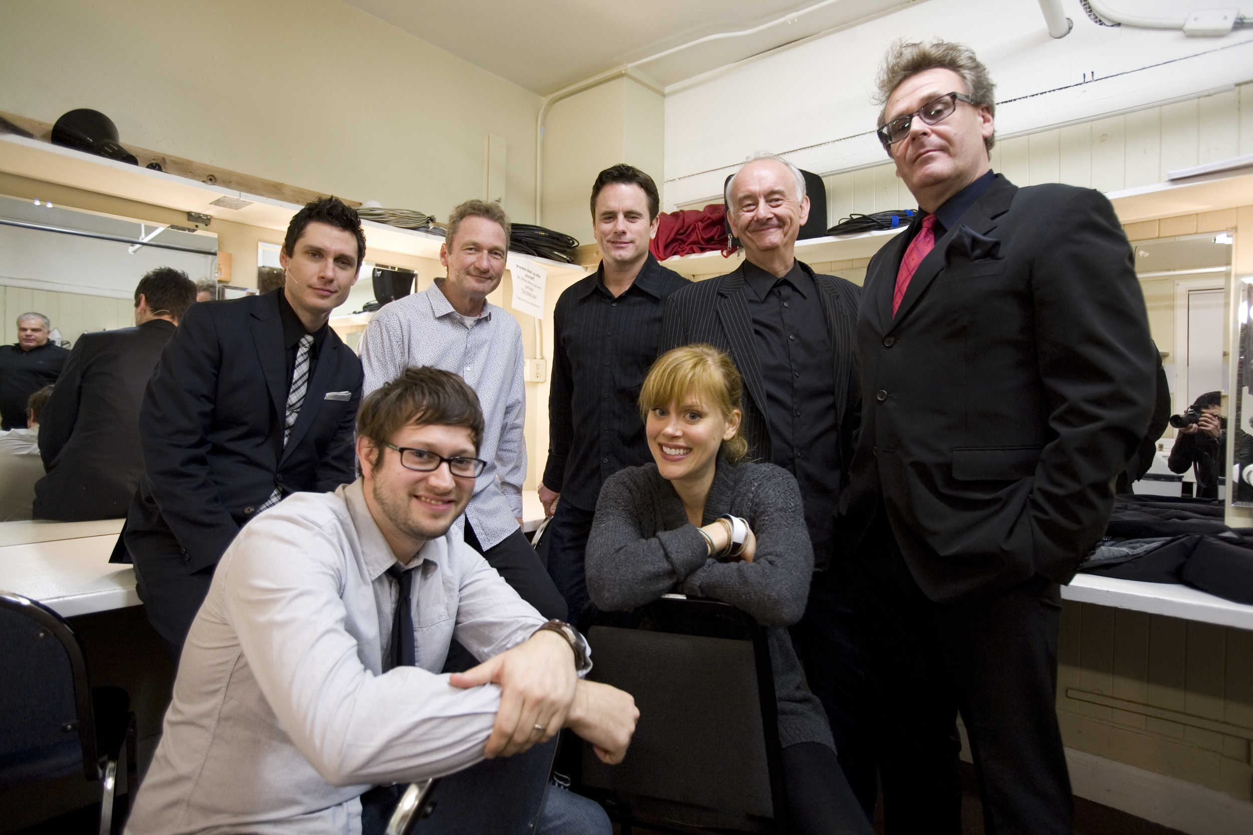 Jeff B. Davis, Ryan Stiles, Chip Esten, Bob Dirkach, Greg Proops and Janet Varney. Photo by Tommy Lau.