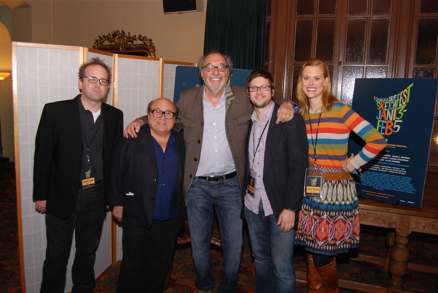 David Owen, Danny DeVito, James L. Brooks and Janet Varney. Photo by Jakub Mosur.