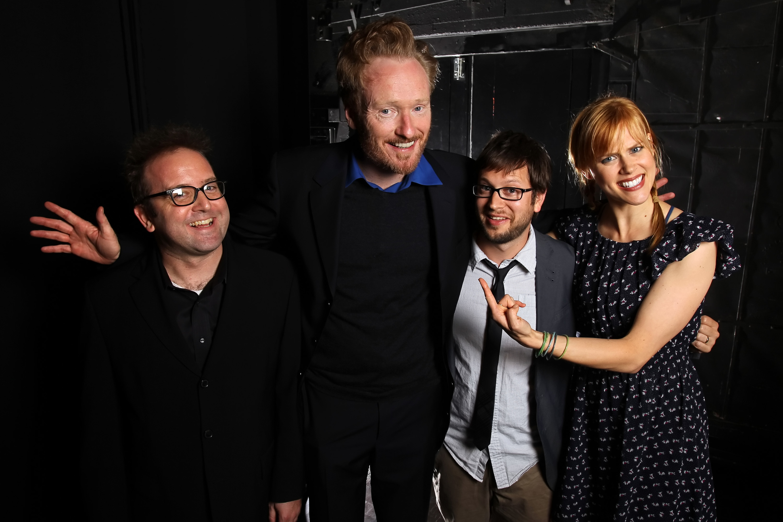 David Owen, Conan O'Brien and Janet Varney. Photo by Jakub Mosur.