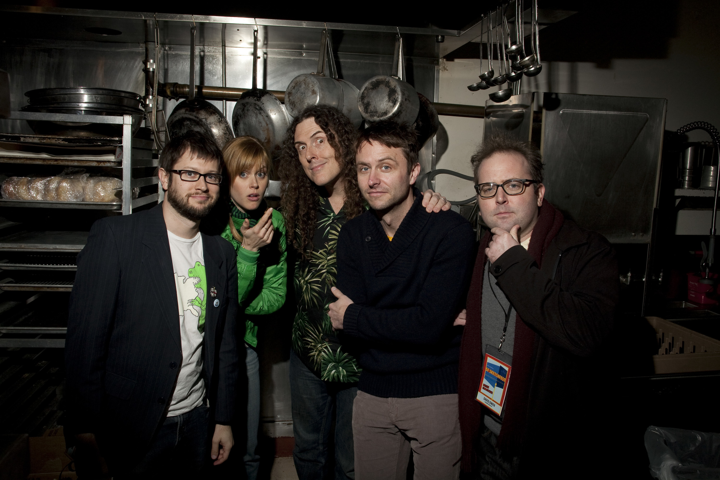 "Janet Varney, ""Weird Al"" Yankovic, Chris Hardwick and David Owen. Photo by Jakub Mosur."