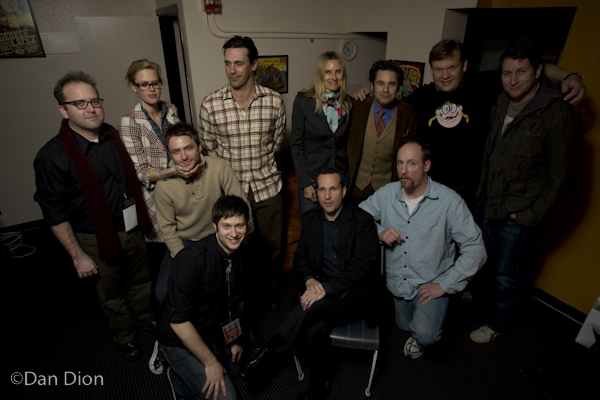 David Owen, Janet Varney, Chris Hardwick, Jon Hamm, Aimee Mann, Paul F. Tompkins, Andy Richter, Scott Aukerman, Jimmy Pardo and Matt Walsh. Photo by Dan Dion.