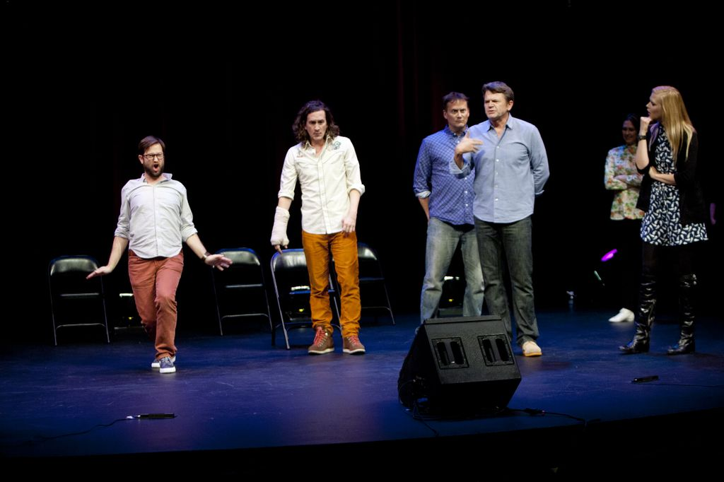 Theme Park with Cole Stratton, Ian Brennan, Michael Hitchcock, John Michael Higgins, Jessica Makinson and Janet Varney at SF Sketchfest. Photo by Tommy Lau.