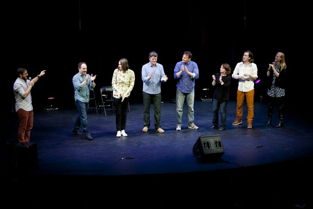 Theme Park with Cole Stratton, Kevin Pollak, Jessica Makinson, John Michael Higgins, Michael Hitchcock, Rachel Dratch, Ian Brennan and Janet Varney at SF Sketchfest. Photo by Tommy Lau.