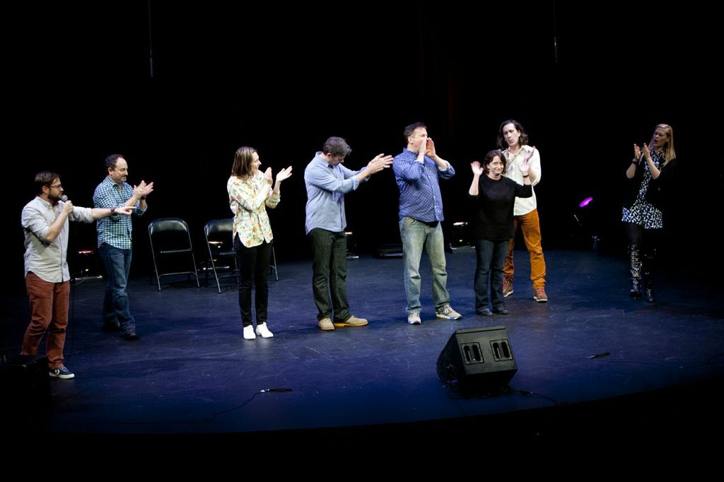 Theme Park with Cole Stratton, Kevin Pollak, Jessica Makinson, John Michael Higgins, Michael Hitchcock, Ian Brennan and Janet Varney at SF Sketchfest. Photo by Tommy Lau.