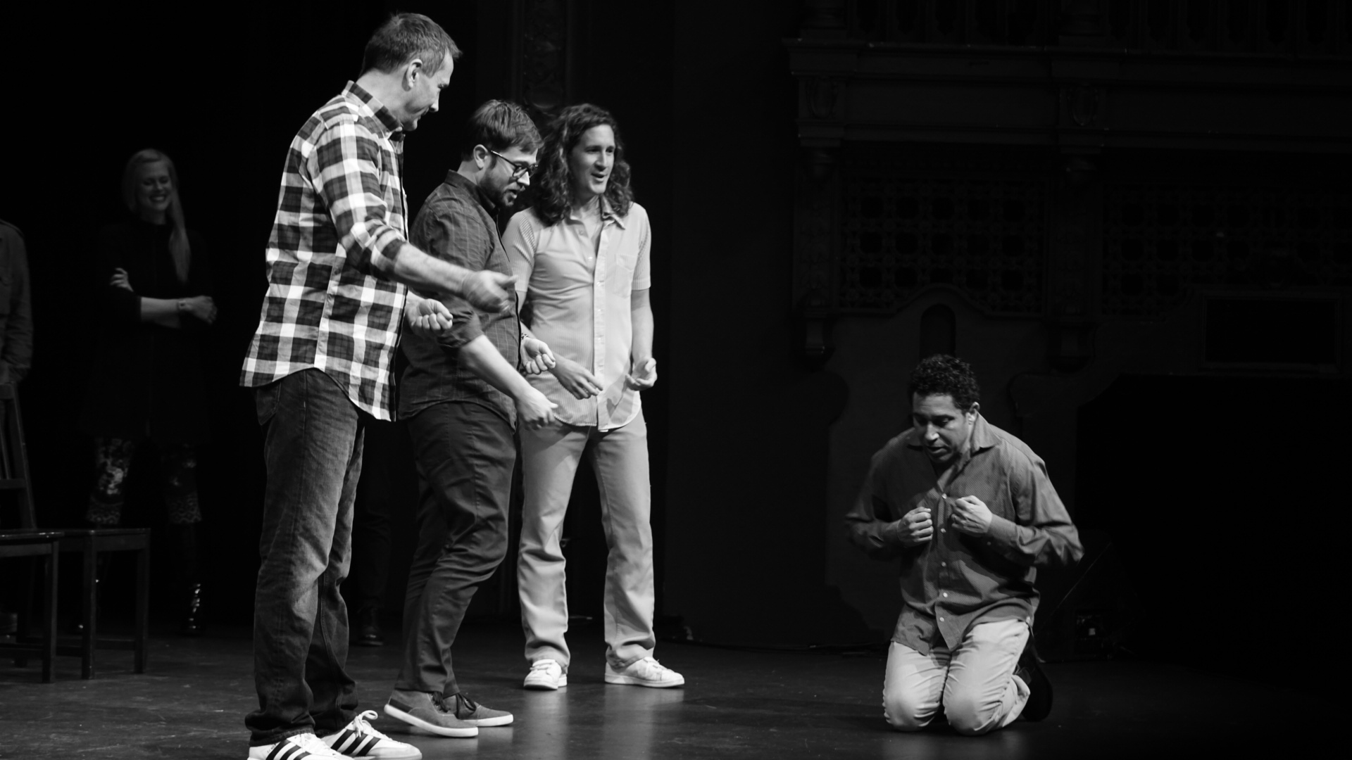 Michael Hitchcock, Cole Stratton, Ian Brennan and Oscar Nunez at Theme Park at SF Sketchfest 2016. Photo by Steve Agee.