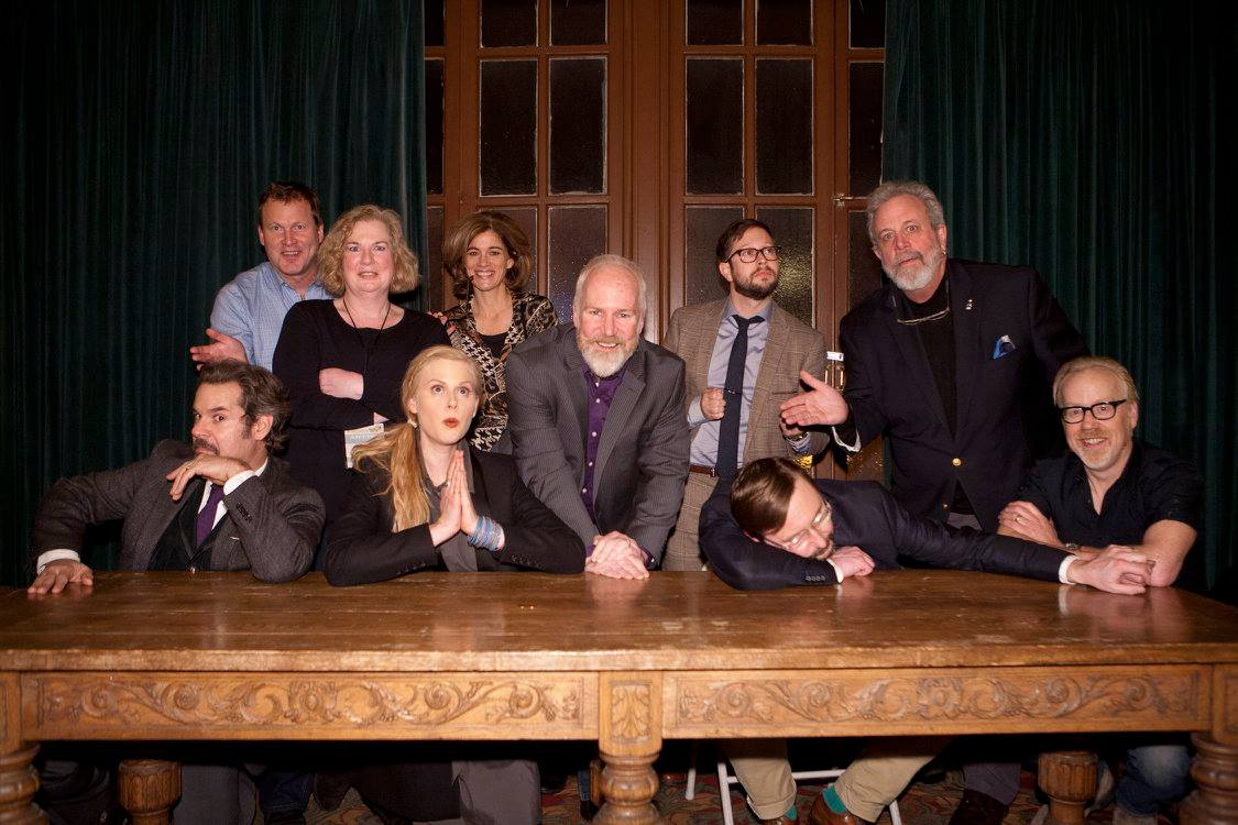 Paul F. Tompkins, Michael J. Nelson, Mary Jo Pehl, Janet Varney, Bridget Nelson, Bill Corbett, John Hodgman, Kevin Murphy and Adam Savage. Photo by Jakub Mosur.