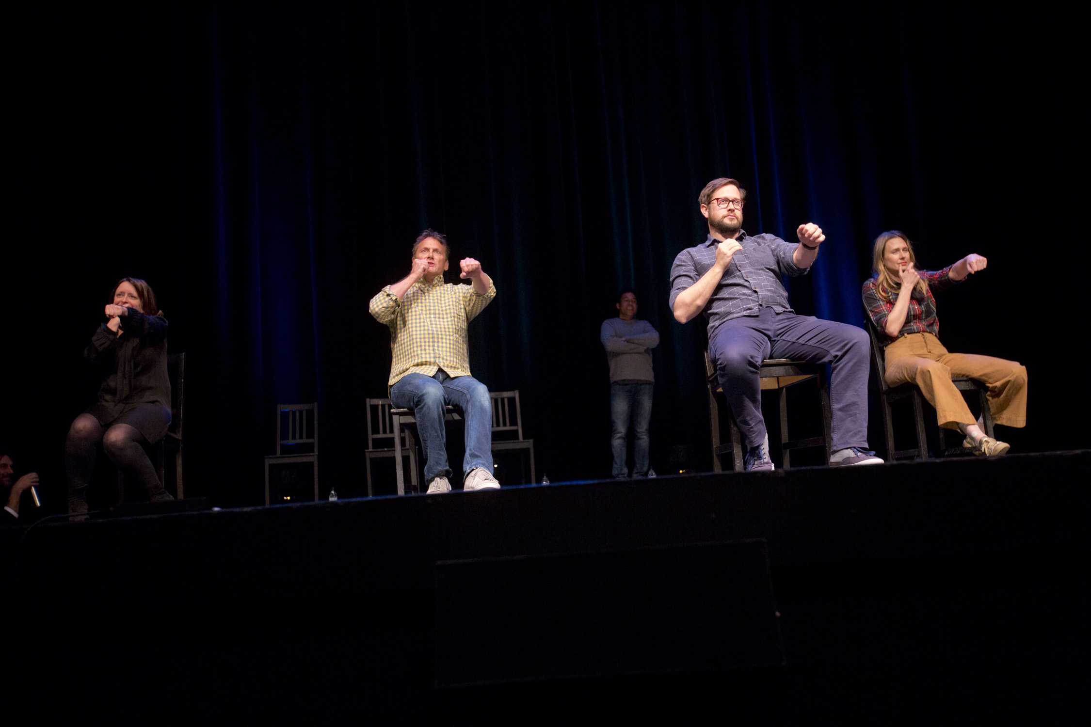 Rachel Dratch, Oscar Nunez, Cole Stratton and Jessica Makinson at Theme Park Improv 2017 at SF Sketchfest. Photo by Tommy Lau.