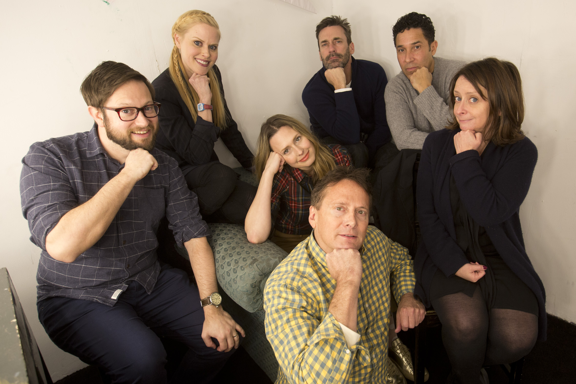 Cole Stratton, Janet Varney, Jessica Makinson, Jon Hamm, Michael Hitchcock, Oscar Nunez and Rachel Dratch at Theme Park Improv 2017 at SF Sketchfest. Photo by Tommy Lau.